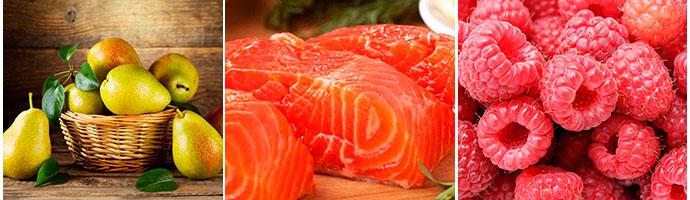 груши, лосось и малина для кишечника