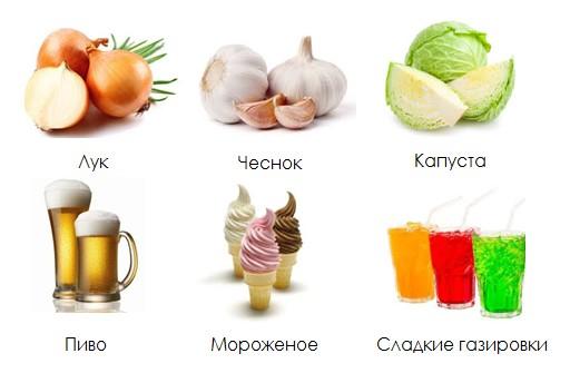 продукты, вызывающие отрыжку