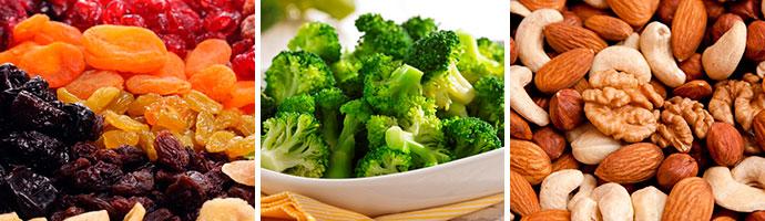 сухофрукты, броколли и орехи очищают кишечник