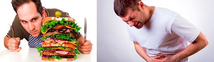 переедание может вызвать боль в желудке