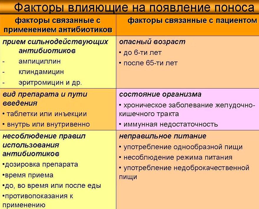 факторы, влияющие на появление поноса